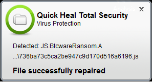 Fig 3. Quick Heal Virus Protection (Script File)